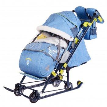 Санки-коляска ника детям нд 7-7 дизайн в джинсовом стиле  синий, механизм