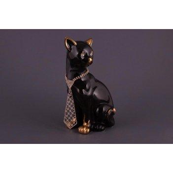 Фигурка кошка черная с галстуком. высота=25см