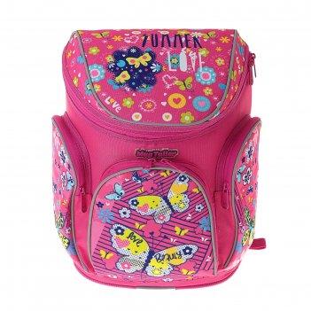 Ранец на молнии mag taller boxi, 38 х 29 х 19, butterfly, розовый