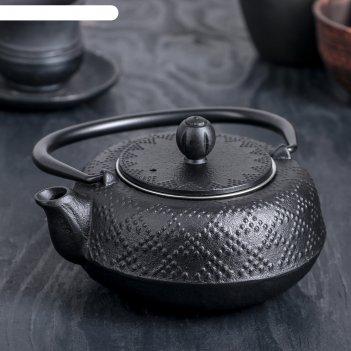 Чайник с ситом 500 мл гафу, цвет черный