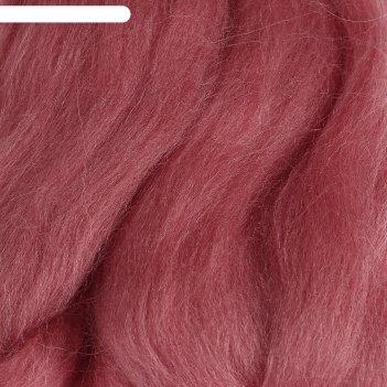 Шерсть для валяния 100% полутонкая шерсть 50гр (21 брусника)