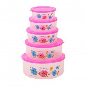 Набор пищевых контейнеров с крышками свежесть, 5 шт: 10х4 см, 11х4 см, 13х
