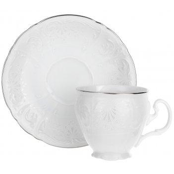 Чайная пара 240 мл 160 мм высокая bernadotte, декор деколь платина