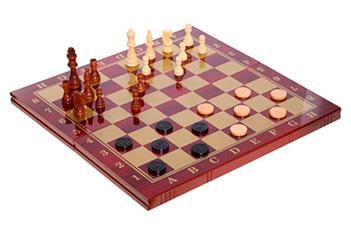 Игра настольная (шахматы, шашки, нарды), лакир. дерево, 48х2...