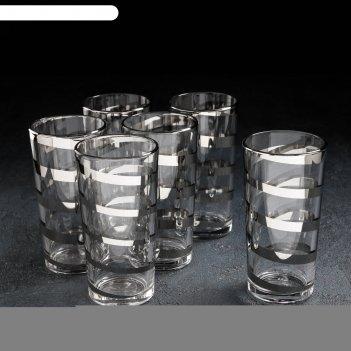 Набор стаканов «серпантин», 230 мл, 6 шт, серебро