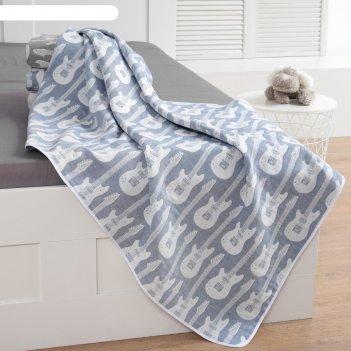 Одеяло детское «крошка я» гитара 140x200 цвет синий, жаккард, 100% хлопок