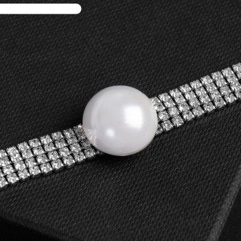Колье-чокер симфония жемчужина, цвет белый в серебре, 30 см