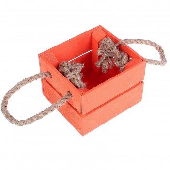 Ящик реечный, ручка- шнур, красный, 11х12х9см