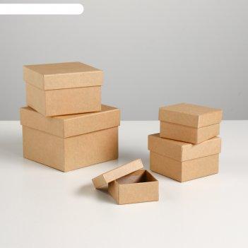 Набор коробок 5в1 крафт однотонный 12 х 12 х 9 - 6 х 6 х 3 см