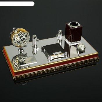 Набор настольный 5в1 (глобус, блок д/бумаг, карандашница, часы, визитница)
