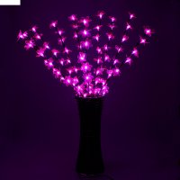 Светодиодная ваза 80х16 см, цветок сакуры 72 led, 220v, фиксин, фиолет