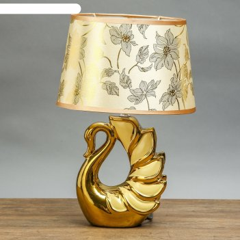 Лампа настольная керамика лебедь кремовая+золото е14 25w 39х25х18 см