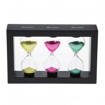 Часы песочные тройные 3,4,5 минут прямоугольник венге микс 16,8*3,5*10см