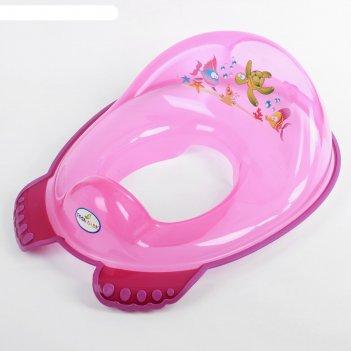 Детская накладка на унитаз «аква» антискользящая, цвет розовый