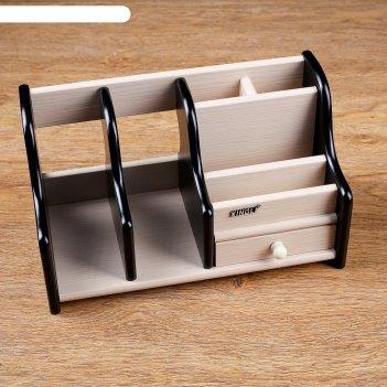 Органйзер, 6 секций, 1 выдв ящик, венге/дуб молочный, 28*14*16см