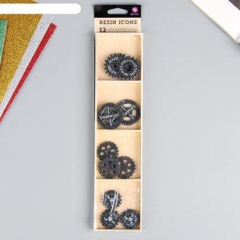 Украшения из смолы в деревянной коробке prima marketing gears 12шт
