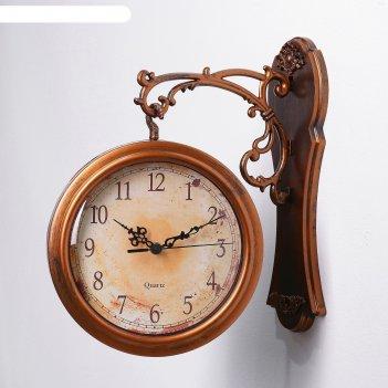 Двойные настенные часы, круг, d=20 см, плавный ход, крепление-пластик, кор