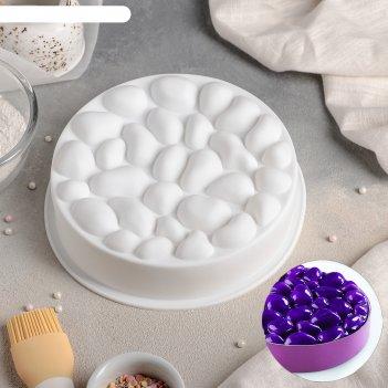 Форма для выпечки и муссовых десертов 19,5 х 5,5 см камешки, цвет белый