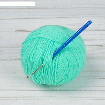 Крючок для вязания, с пластиковой ручкой, d = 3,5 мм, 13,5 см, цвет синий