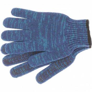 Перчатки трикотажные усиленные, гелевое пвх-покрытие, 7 класс, синие росси