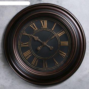 Часы настенные классика пластик под черное дерево, черный циферблат, римск