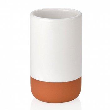 Andrea house стакан для зубных щеток керамика бело-коричневая