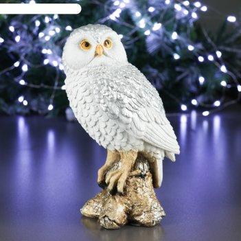 Фигура сова на коряге серебро 9х10х20см