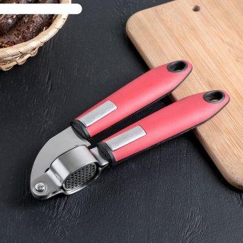 Пресс для чеснока «трипл», 20 см, ручка soft-touch, цвет красный