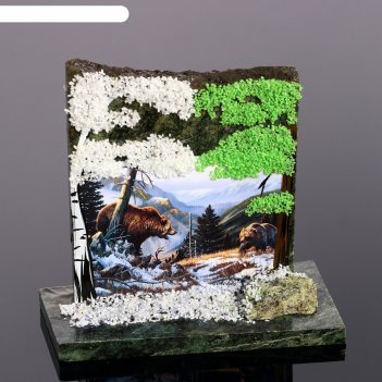 Сувенир-скол медведи, змеевик, каменная крошка