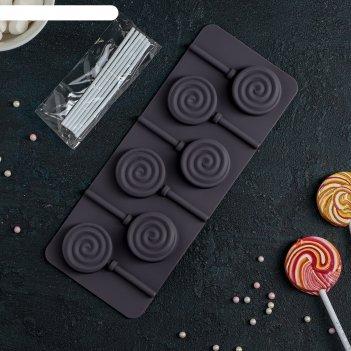 Форма для льда и шоколада 9,5х24х1 см леденец цвета микс