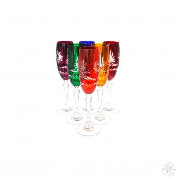 Набор фужеров для шампанского цветной хрусталь 170 мл (6 шт)