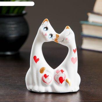 Фигура коты влюбленные малые белые 5 x 9 x 11 см 074