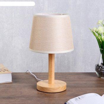 Лампа настольная эко 1х40вт е27 светлое дерево-бежевый 18х18х29,5 см.