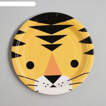 Тарелка бумажная «тигр», набор 6 шт.