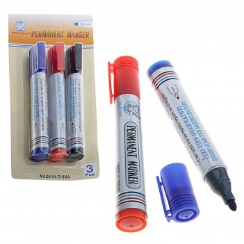 Набор маркеров перманентных круг 4мм 3шт (синий,черный,красный)
