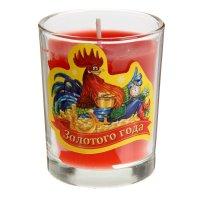 Свеча в стеклянном стаканчике золотого года