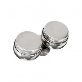 Масленка металлическая, двойная, с крышкой, d 4.2 см, h 3.5 см
