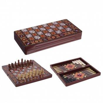 Набор настольных игр (шахматы, шашки, нарды) l39 w19,5 h5,2 ...