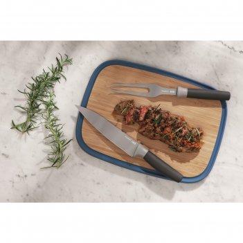 Набор для нарезки мяса leo: доска 37x27 см, нож 19 см, вилка 17 см