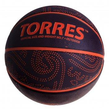 Мяч баскетбольный torres tt, р.7, бордово-оранжевый