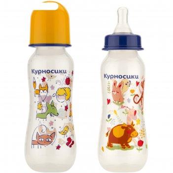 Бутылочка для кормления «зверята», приталенная, с 2 силиконовыми сосками,