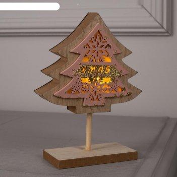 Фигура дерев. елка новогодняя, 16 см, lr44 (в компл.), т/белый