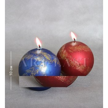 Свеча новогодняя металик шар 10 см.
