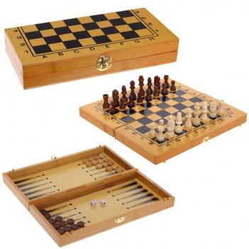Набор настольных игр (шахматы, шашки, нарды) l30 w16 h5 см