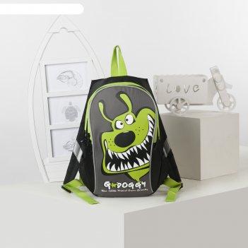 Рюкзак детский grizzly rk-079-3 35*23*14 мал, чёрный/салатовый