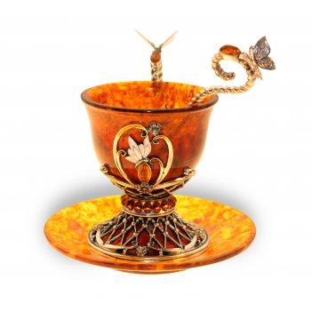 Чашка кофейная екатерина из янтаря (на 2 персоны)
