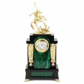 Часы георгий победоносец малахит долерит бронза 190х115х410 мм 6500 гр.