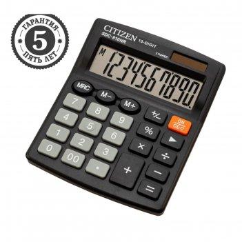 Калькулятор настольный 10-разр, 102*124*25мм, 2-е питание, черный sdc-810n