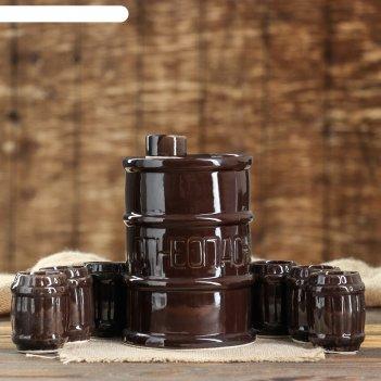 Штоф с рюмками огнеопасно набор 7 предметов, чёрный 1,8 л