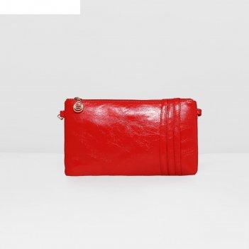 Клатч жен глянец, 21*0,5*12см, отдел на молнии, длин ремень, красный